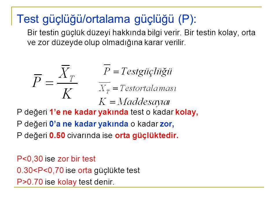 Test güçlüğü/ortalama güçlüğü (P):