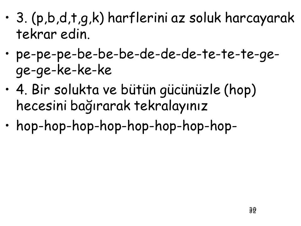 3. (p,b,d,t,g,k) harflerini az soluk harcayarak tekrar edin.