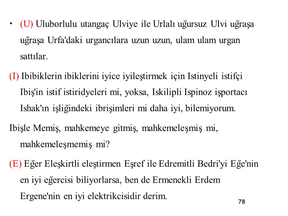 (U) Uluborlulu utangaç Ulviye ile Urlalı uğursuz Ulvi uğraşa uğraşa Urfa daki urgancılara uzun uzun, ulam ulam urgan sattılar.