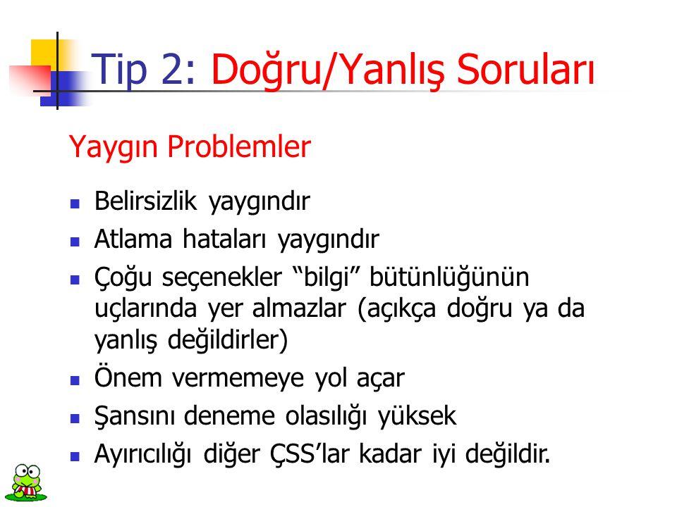 Tip 2: Doğru/Yanlış Soruları