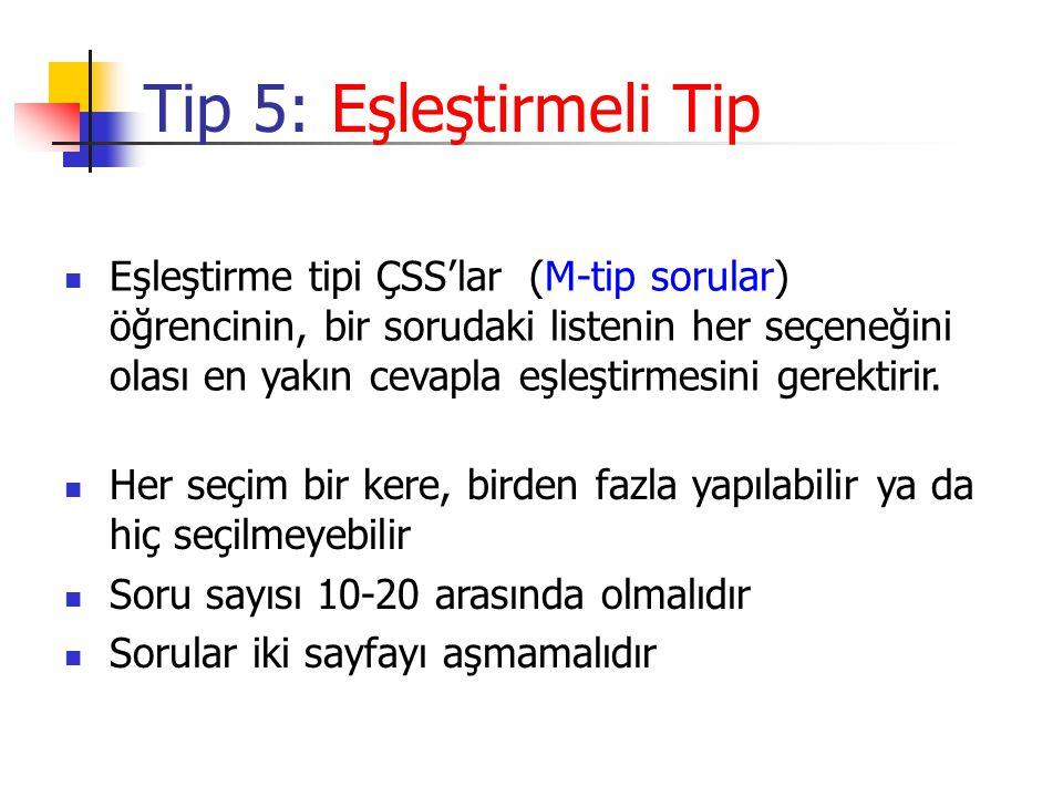 Tip 5: Eşleştirmeli Tip