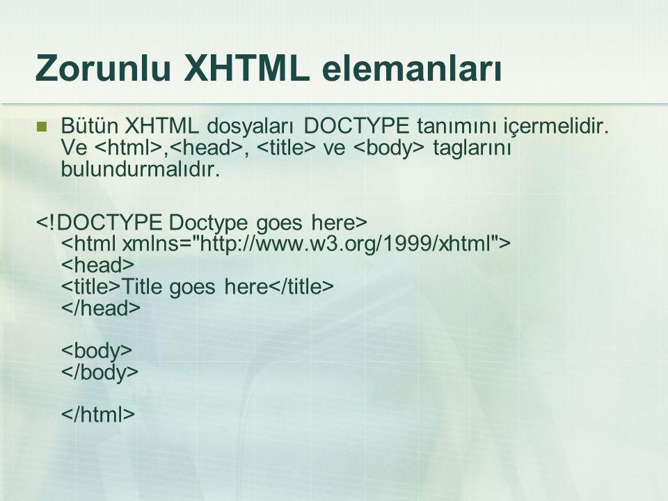 Zorunlu XHTML elemanları
