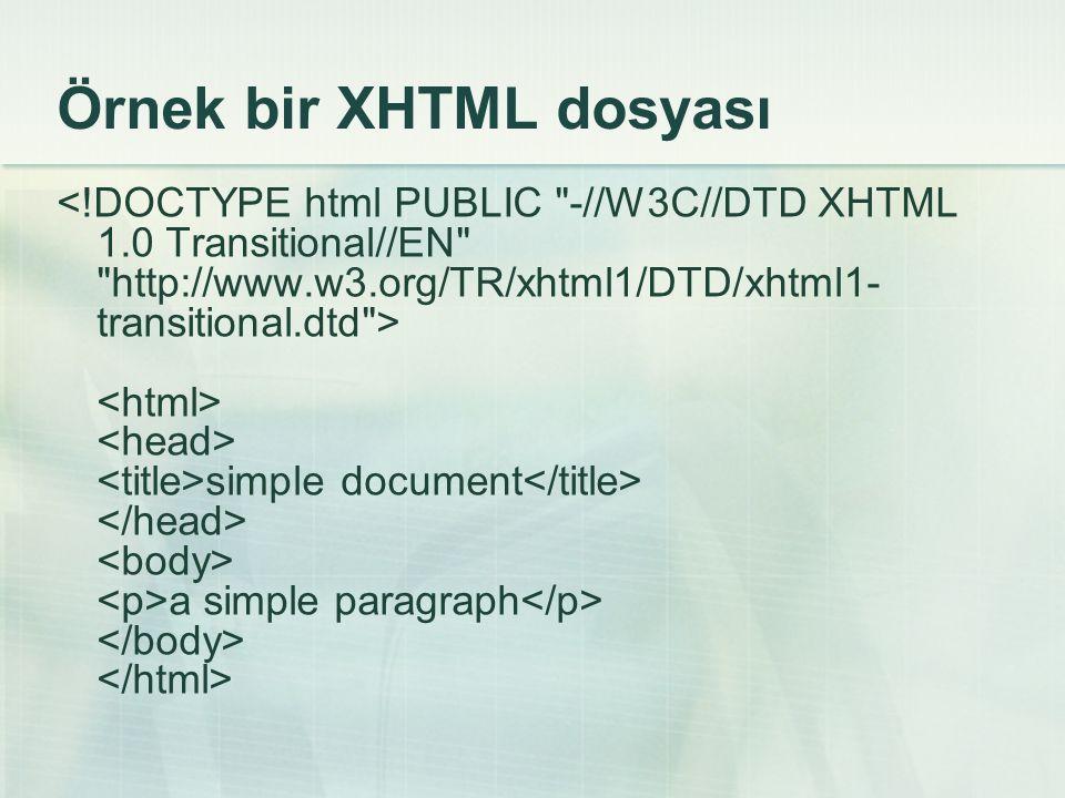 Örnek bir XHTML dosyası
