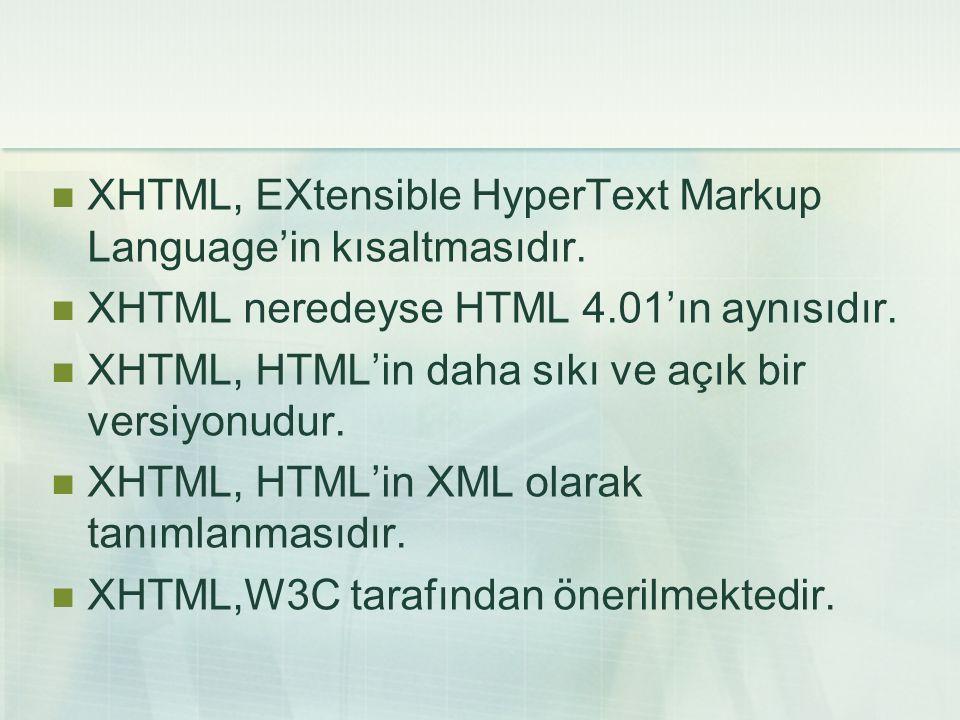 XHTML, EXtensible HyperText Markup Language'in kısaltmasıdır.