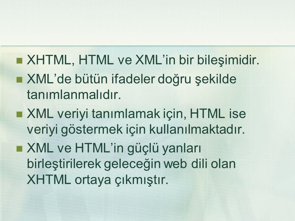 XHTML, HTML ve XML'in bir bileşimidir.