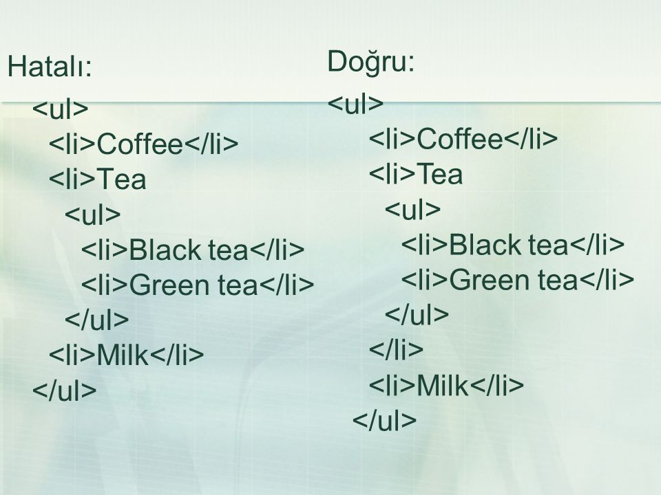Doğru: <ul> <li>Coffee</li> <li>Tea <ul> <li>Black tea</li> <li>Green tea</li> </ul> </li> <li>Milk</li> </ul>