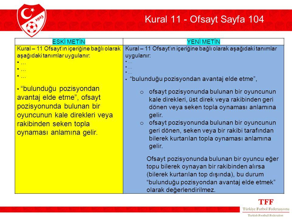 Kural 11 - Ofsayt Sayfa 104 ESKİ METİN. YENİ METİN. Kural – 11 Ofsayt'ın içeriğine bağlı olarak aşağıdaki tanımlar uygulanır: