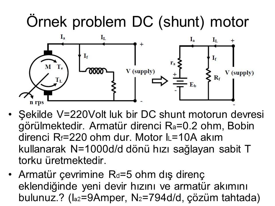 Örnek problem DC (shunt) motor