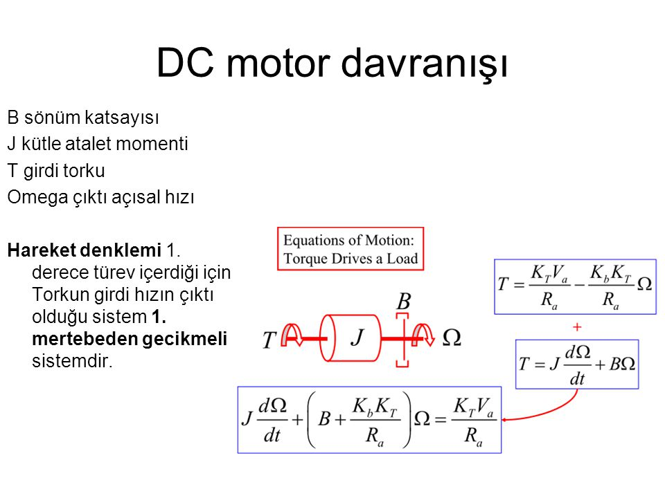 DC motor davranışı B sönüm katsayısı J kütle atalet momenti