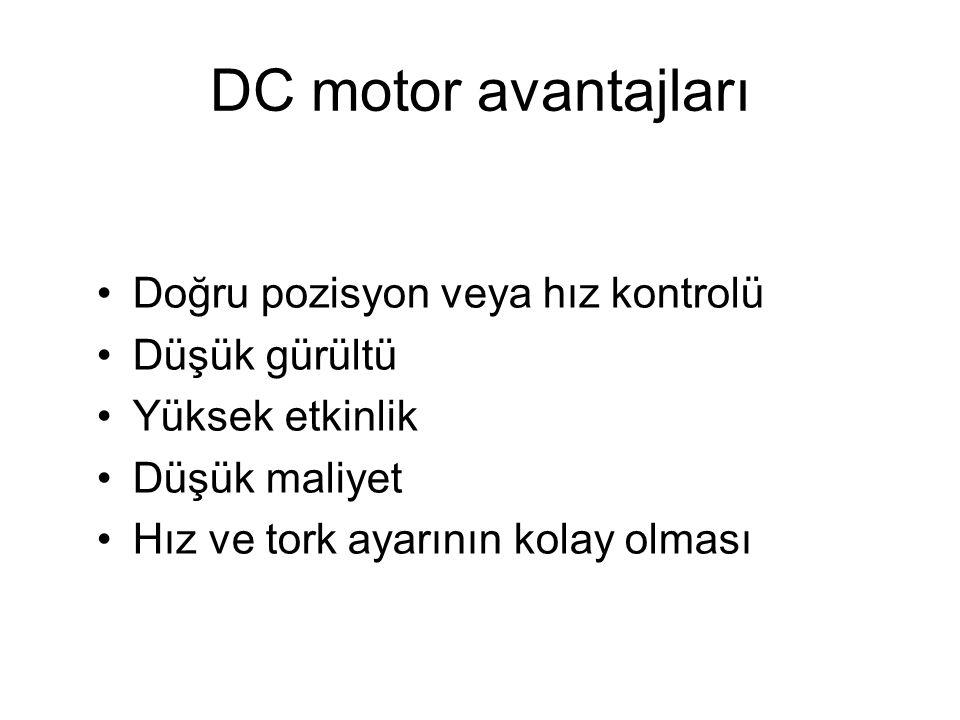 DC motor avantajları Doğru pozisyon veya hız kontrolü Düşük gürültü