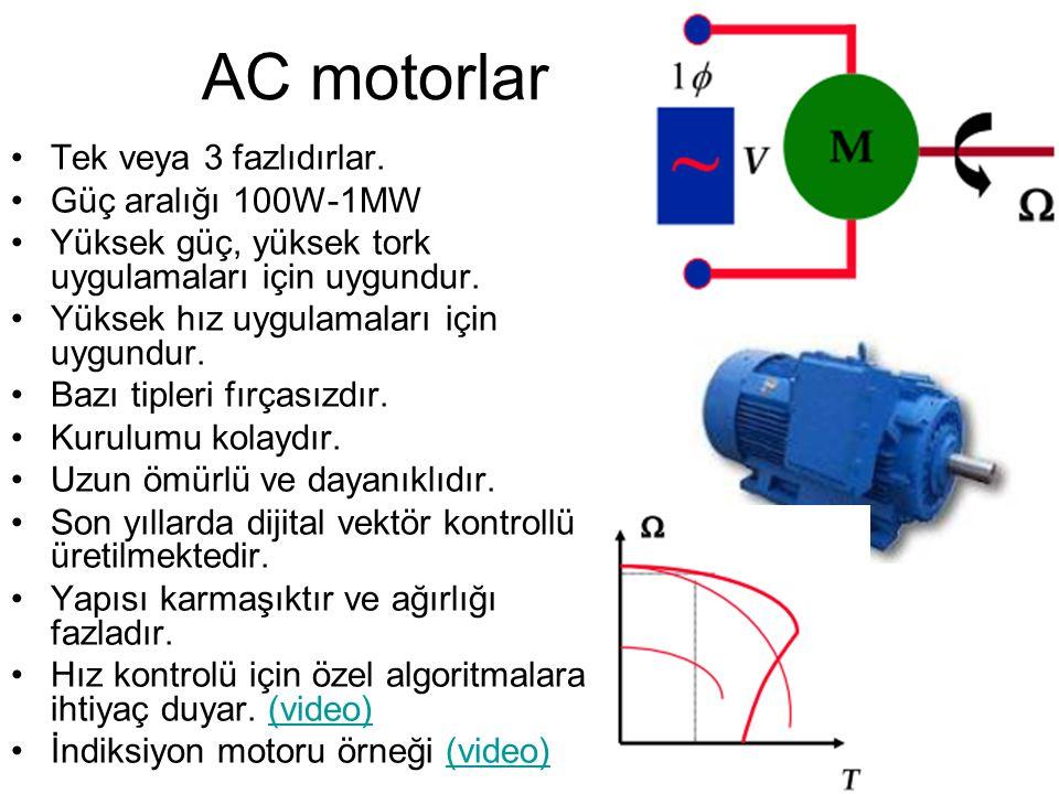 AC motorlar Tek veya 3 fazlıdırlar. Güç aralığı 100W-1MW