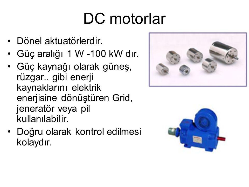 DC motorlar Dönel aktuatörlerdir. Güç aralığı 1 W -100 kW dır.