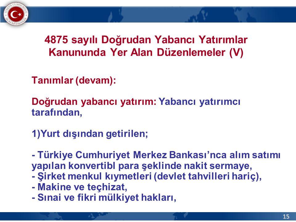 4875 sayılı Doğrudan Yabancı Yatırımlar Kanununda Yer Alan Düzenlemeler (V)