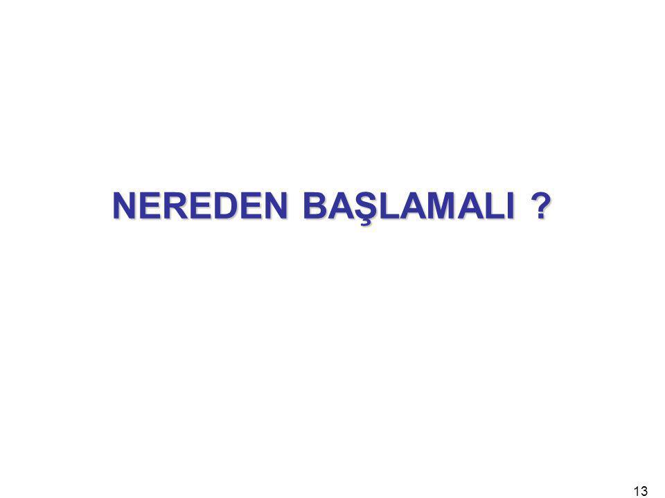 NEREDEN BAŞLAMALI 13