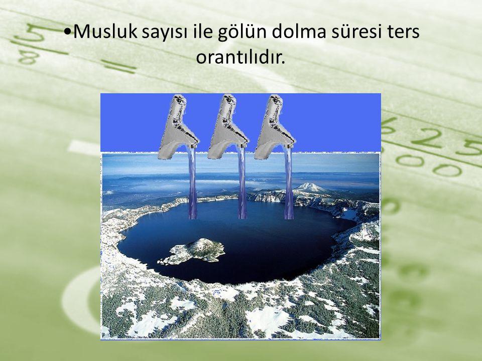 Musluk sayısı ile gölün dolma süresi ters orantılıdır.