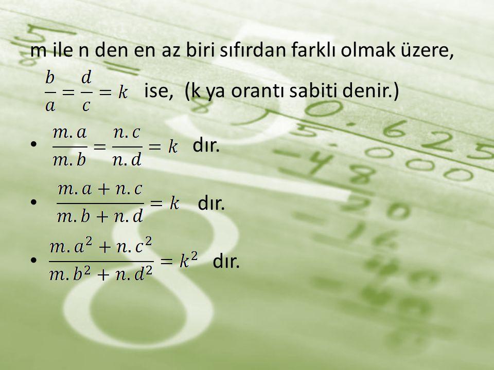m ile n den en az biri sıfırdan farklı olmak üzere,
