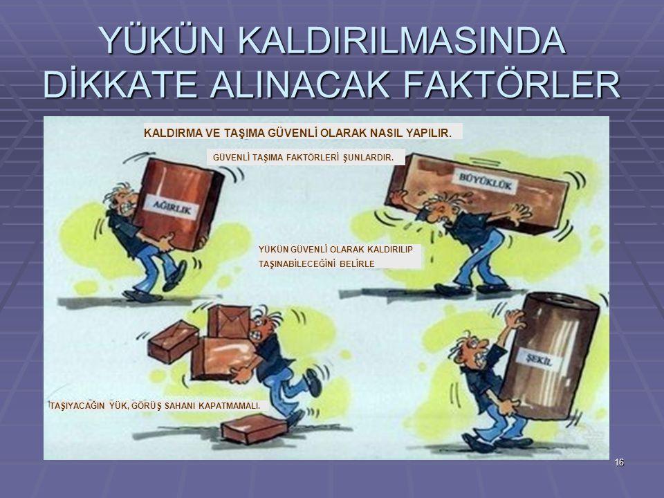 YÜKÜN KALDIRILMASINDA DİKKATE ALINACAK FAKTÖRLER