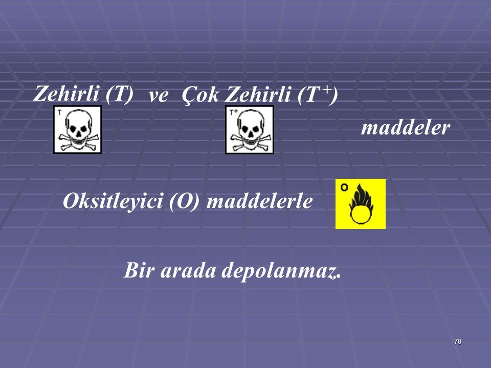 Zehirli (T) ve Çok Zehirli (T +) maddeler Oksitleyici (O) maddelerle Bir arada depolanmaz.
