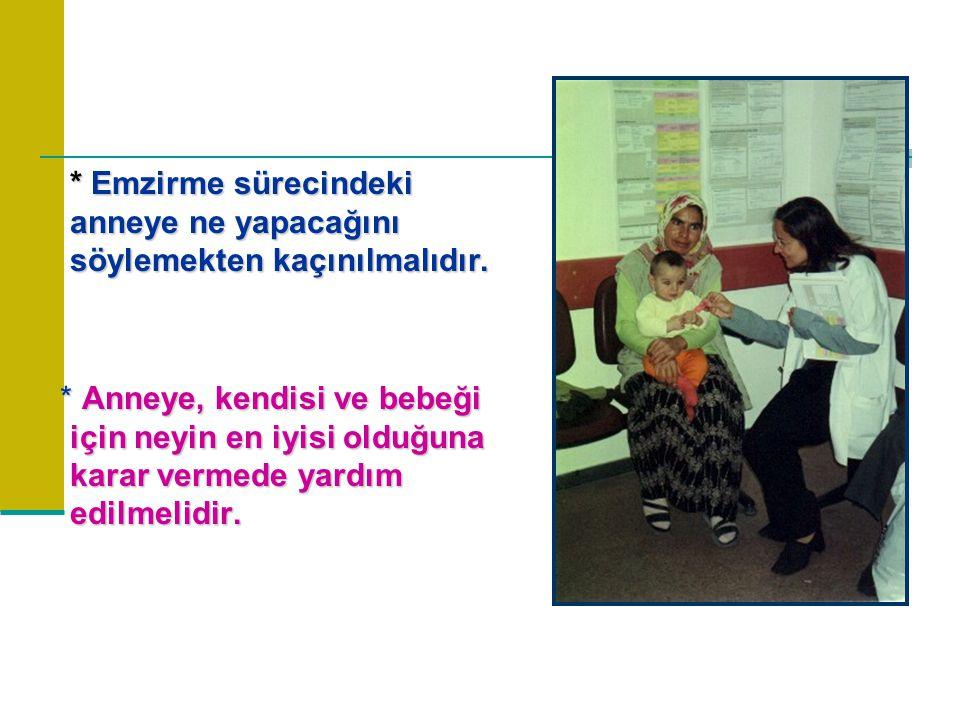 * Emzirme sürecindeki anneye ne yapacağını söylemekten kaçınılmalıdır.