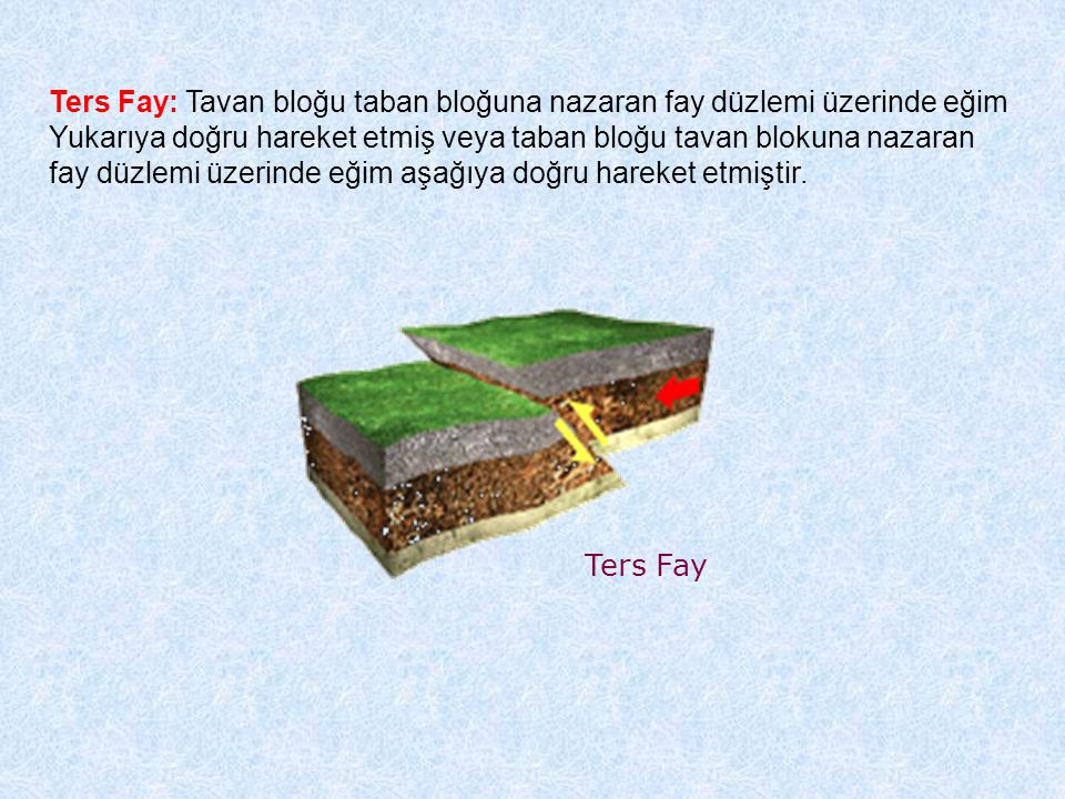 Ters Fay: Tavan bloğu taban bloğuna nazaran fay düzlemi üzerinde eğim
