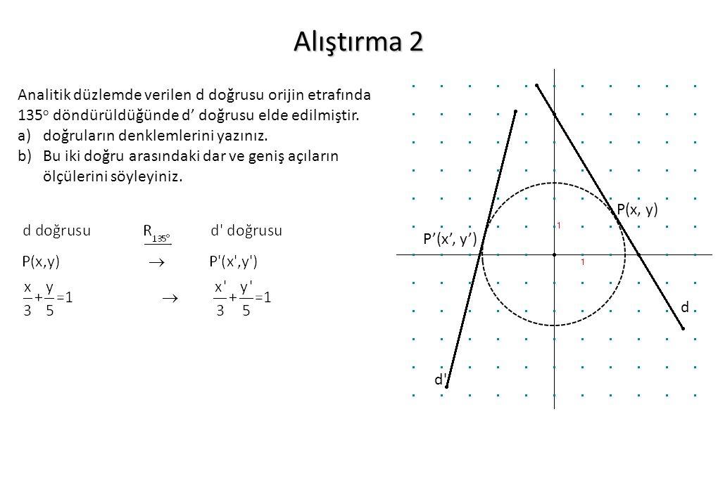 Alıştırma 2 Analitik düzlemde verilen d doğrusu orijin etrafında 135o döndürüldüğünde d' doğrusu elde edilmiştir.