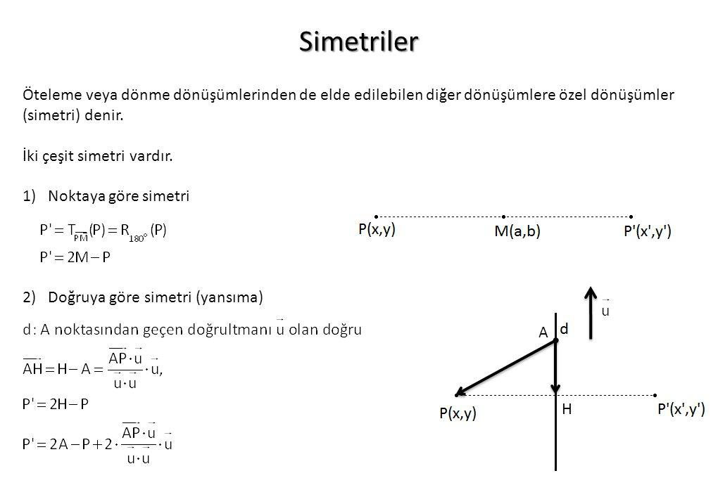 Simetriler Öteleme veya dönme dönüşümlerinden de elde edilebilen diğer dönüşümlere özel dönüşümler (simetri) denir.