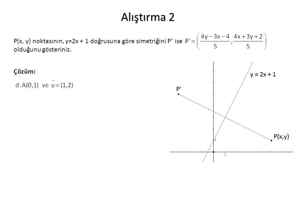 Alıştırma 2 P(x, y) noktasının, y=2x + 1 doğrusuna göre simetriğini P' ise.