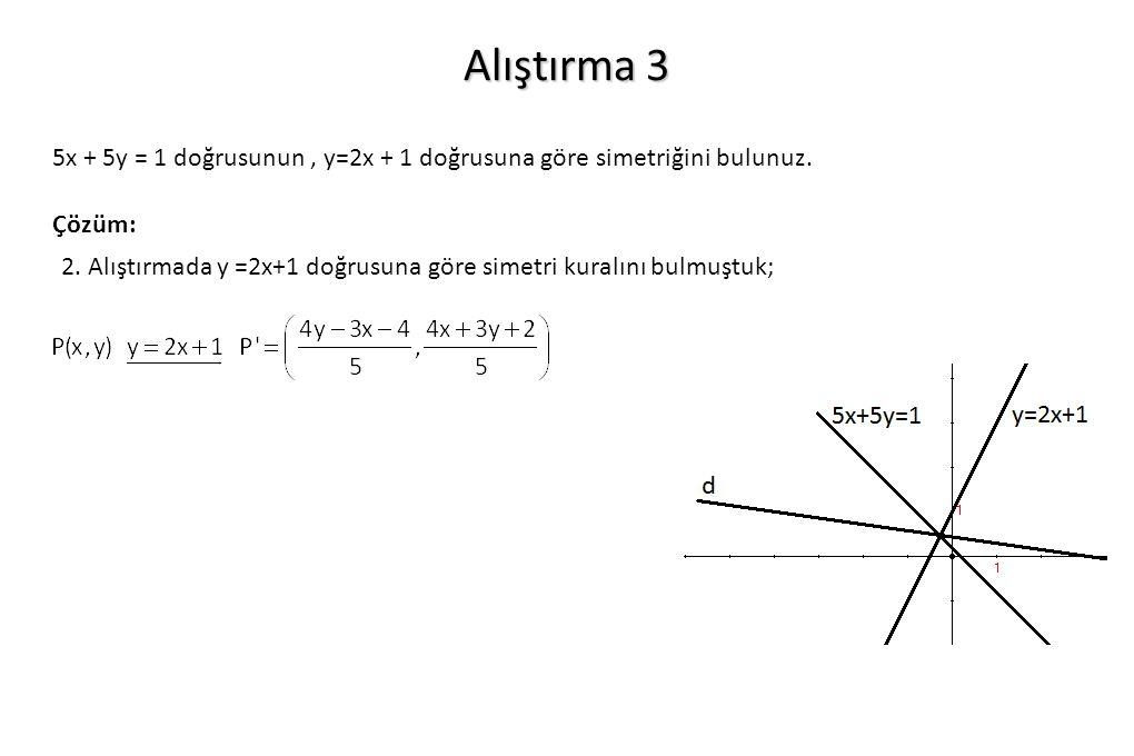 Alıştırma 3 5x + 5y = 1 doğrusunun , y=2x + 1 doğrusuna göre simetriğini bulunuz. Çözüm: