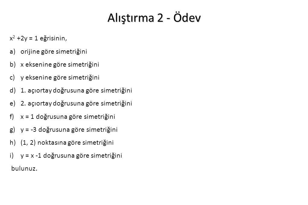 Alıştırma 2 - Ödev x2 +2y = 1 eğrisinin, orijine göre simetriğini