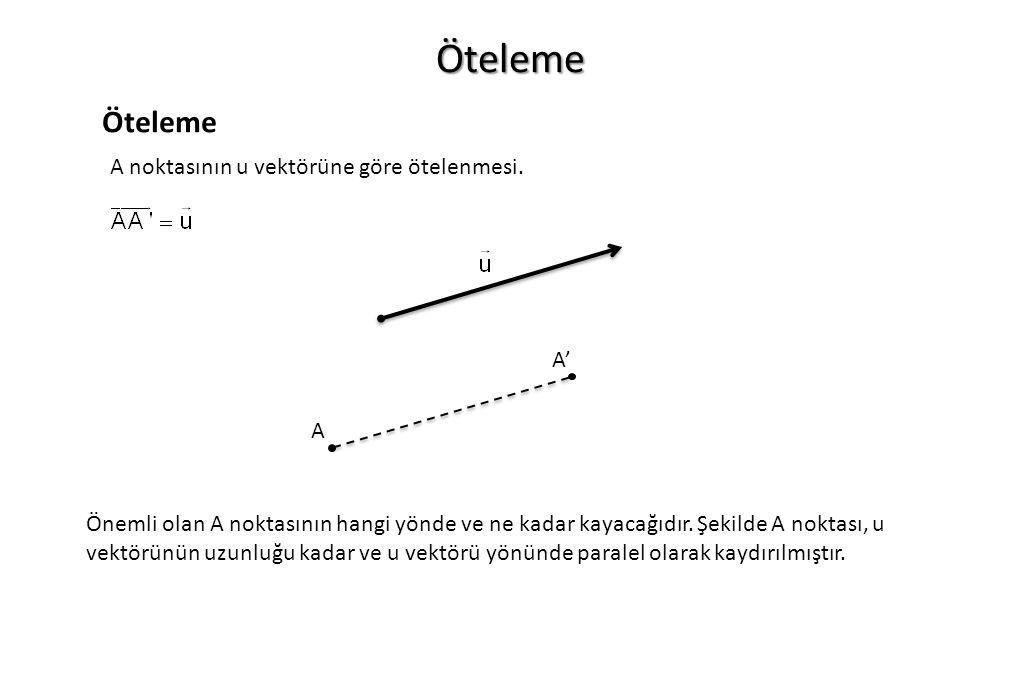 Öteleme Öteleme A noktasının u vektörüne göre ötelenmesi. A' A