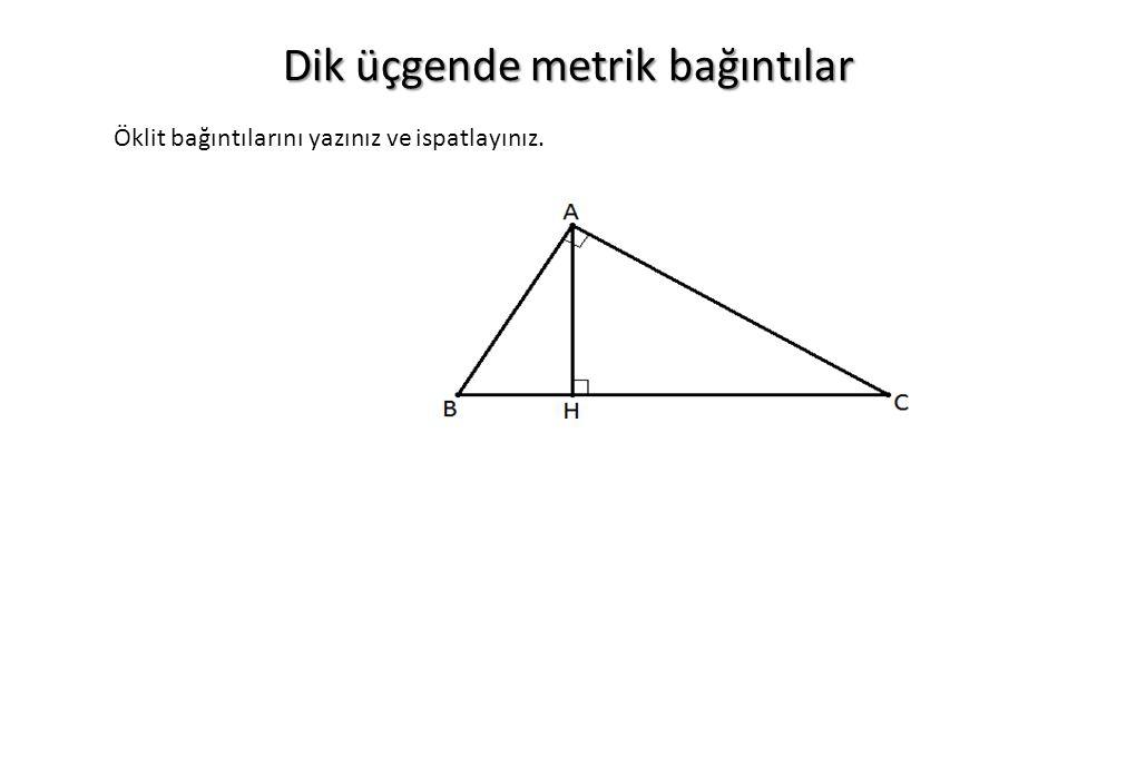 Dik üçgende metrik bağıntılar