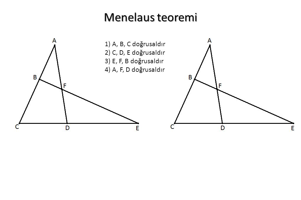 Menelaus teoremi 1) A, B, C doğrusaldır 2) C, D, E doğrusaldır
