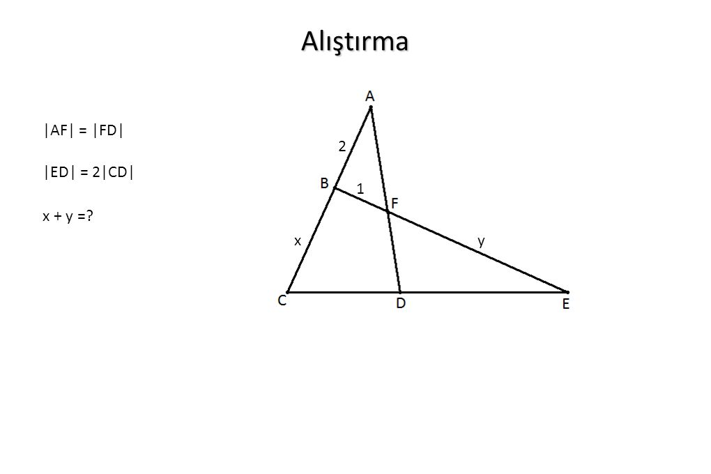 Alıştırma |AF| = |FD| 2 |ED| = 2|CD| 1 x + y = x y