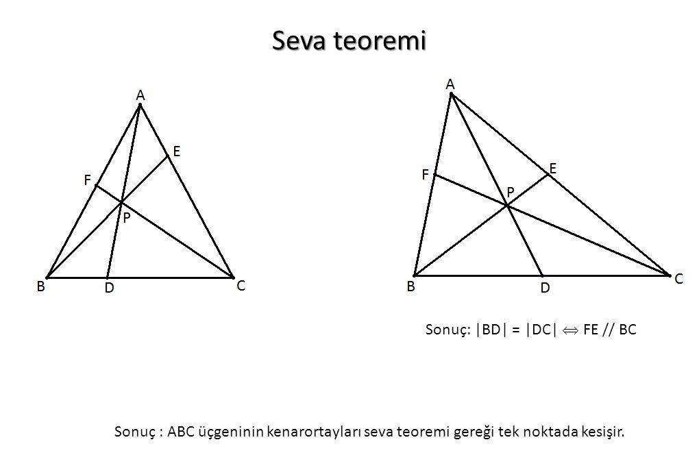 Seva teoremi Sonuç: |BD| = |DC|  FE // BC