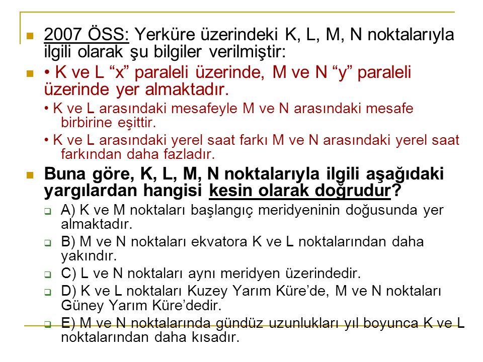 2007 ÖSS: Yerküre üzerindeki K, L, M, N noktalarıyla ilgili olarak şu bilgiler verilmiştir: