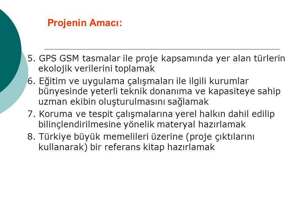 Projenin Amacı: 5. GPS GSM tasmalar ile proje kapsamında yer alan türlerin ekolojik verilerini toplamak.