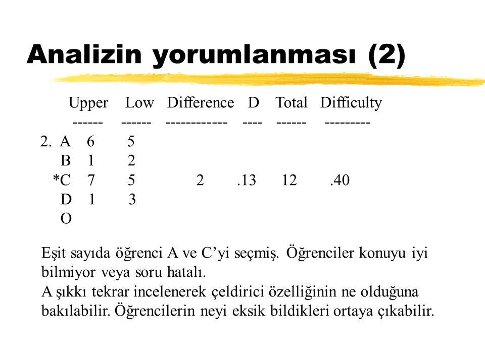Analizin yorumlanması (2)