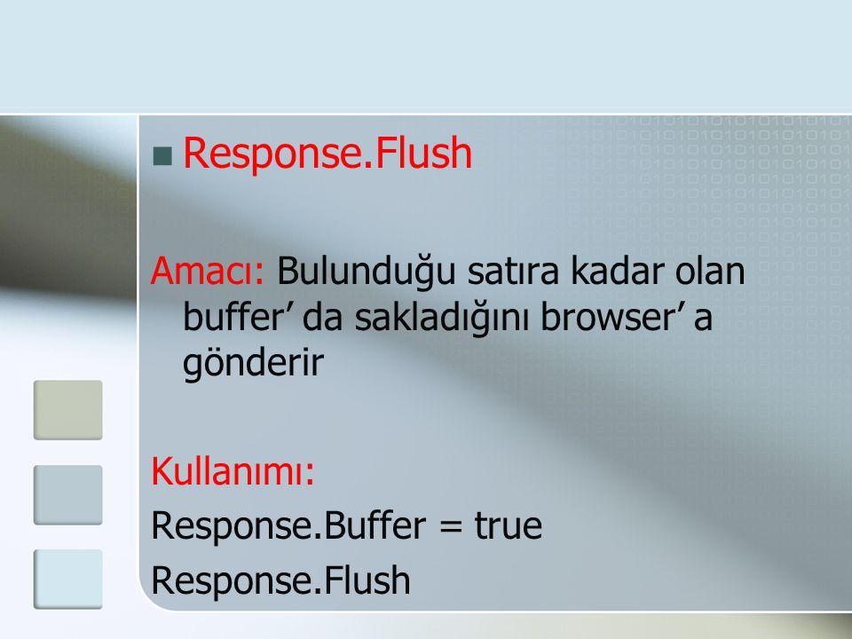 Response.Flush Amacı: Bulunduğu satıra kadar olan buffer' da sakladığını browser' a gönderir. Kullanımı: