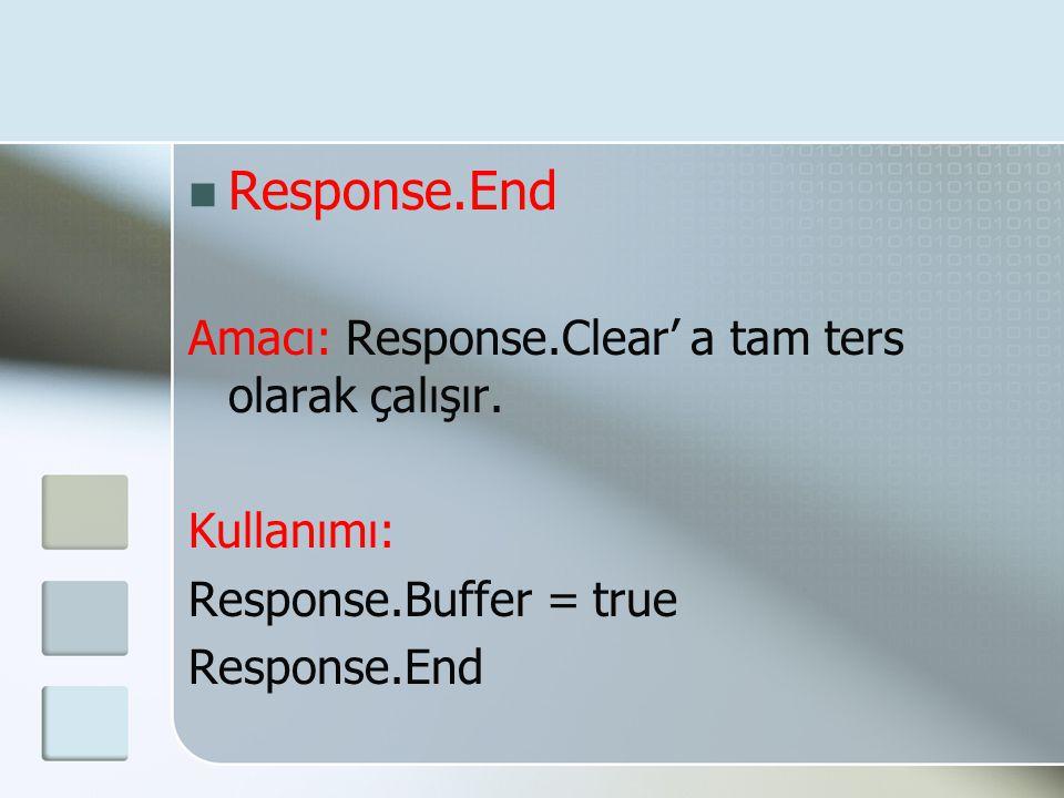 Response.End Amacı: Response.Clear' a tam ters olarak çalışır.