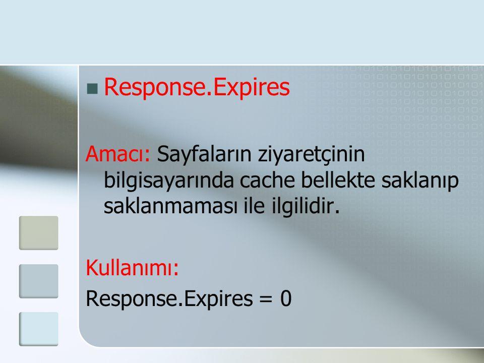 Response.Expires Amacı: Sayfaların ziyaretçinin bilgisayarında cache bellekte saklanıp saklanmaması ile ilgilidir.