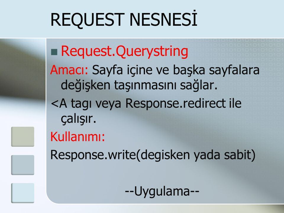 REQUEST NESNESİ Request.Querystring