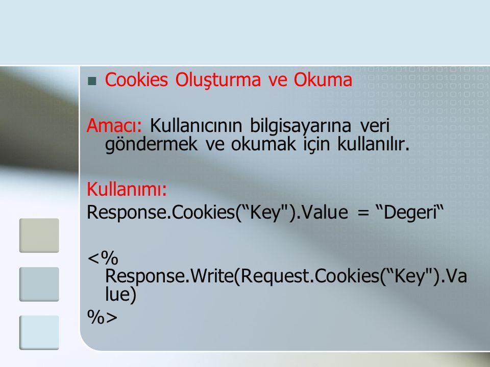 Cookies Oluşturma ve Okuma