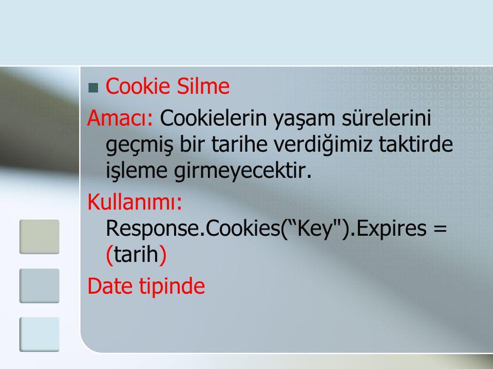 Cookie Silme Amacı: Cookielerin yaşam sürelerini geçmiş bir tarihe verdiğimiz taktirde işleme girmeyecektir.