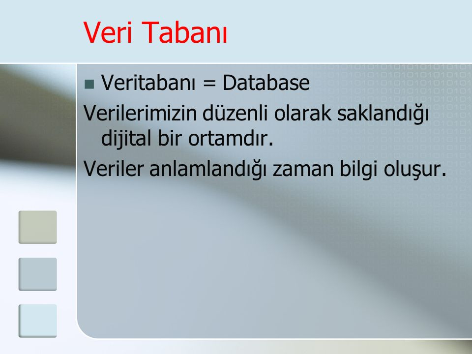 Veri Tabanı Veritabanı = Database