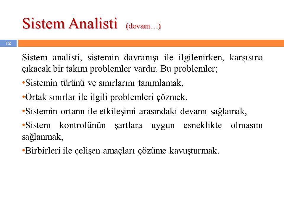 Sistem Analisti (devam…)