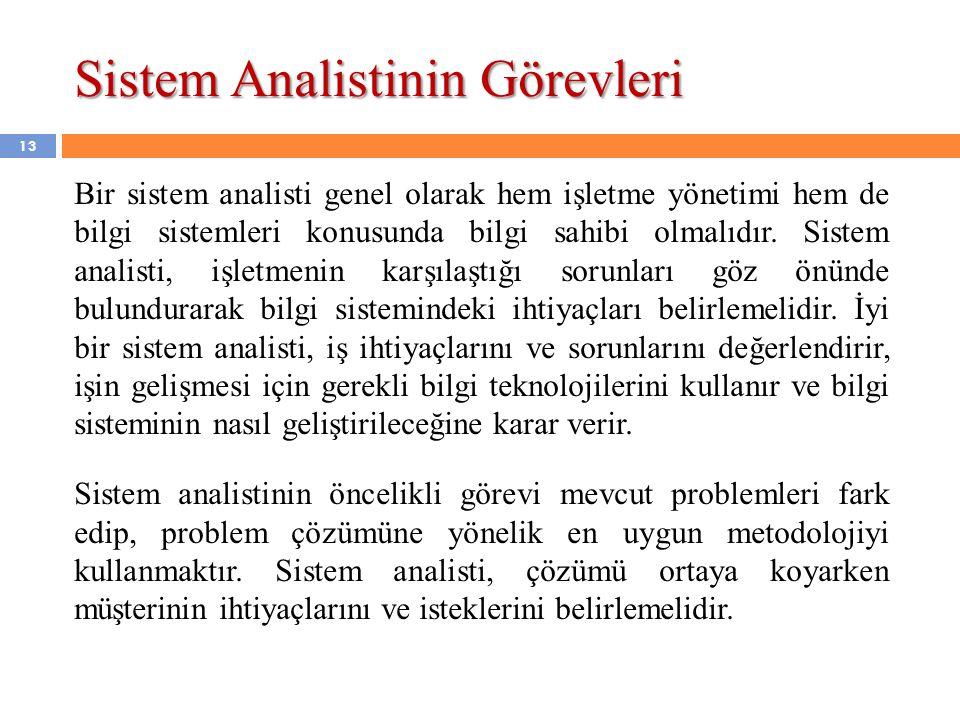 Sistem Analistinin Görevleri