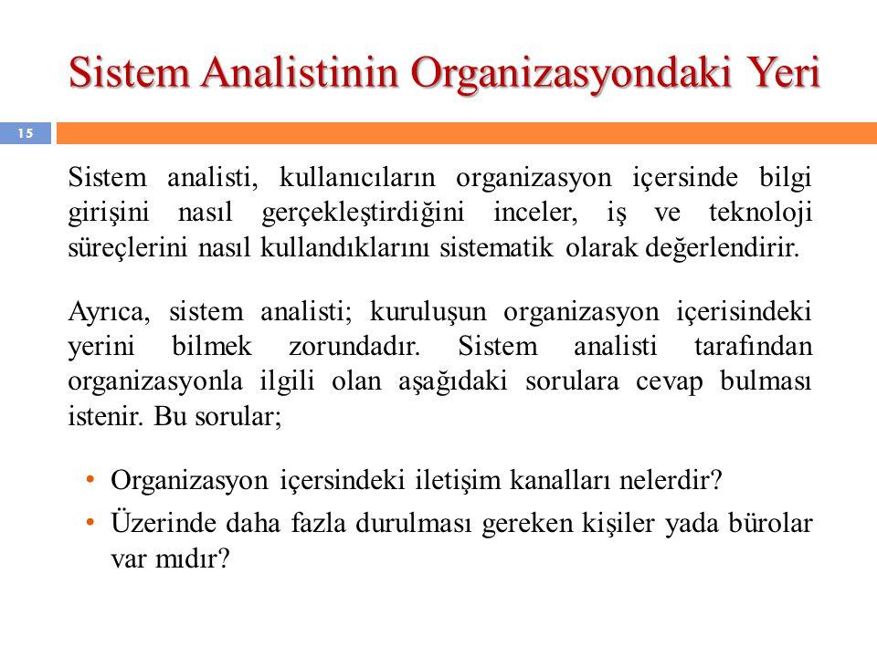 Sistem Analistinin Organizasyondaki Yeri