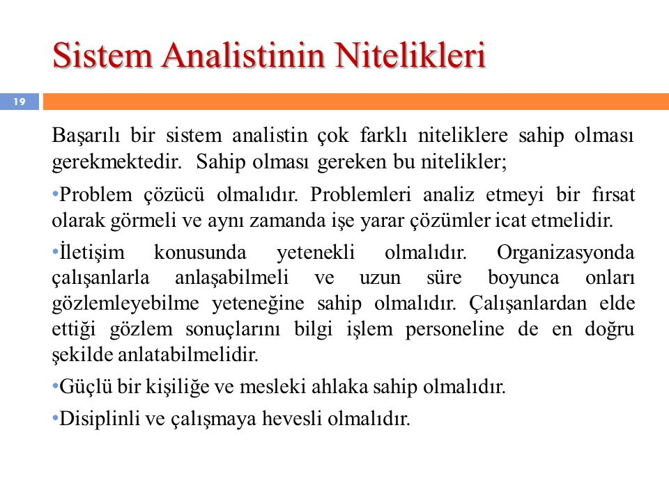 Sistem Analistinin Nitelikleri