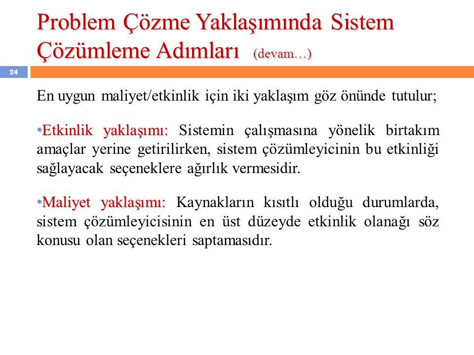 Problem Çözme Yaklaşımında Sistem Çözümleme Adımları (devam…)