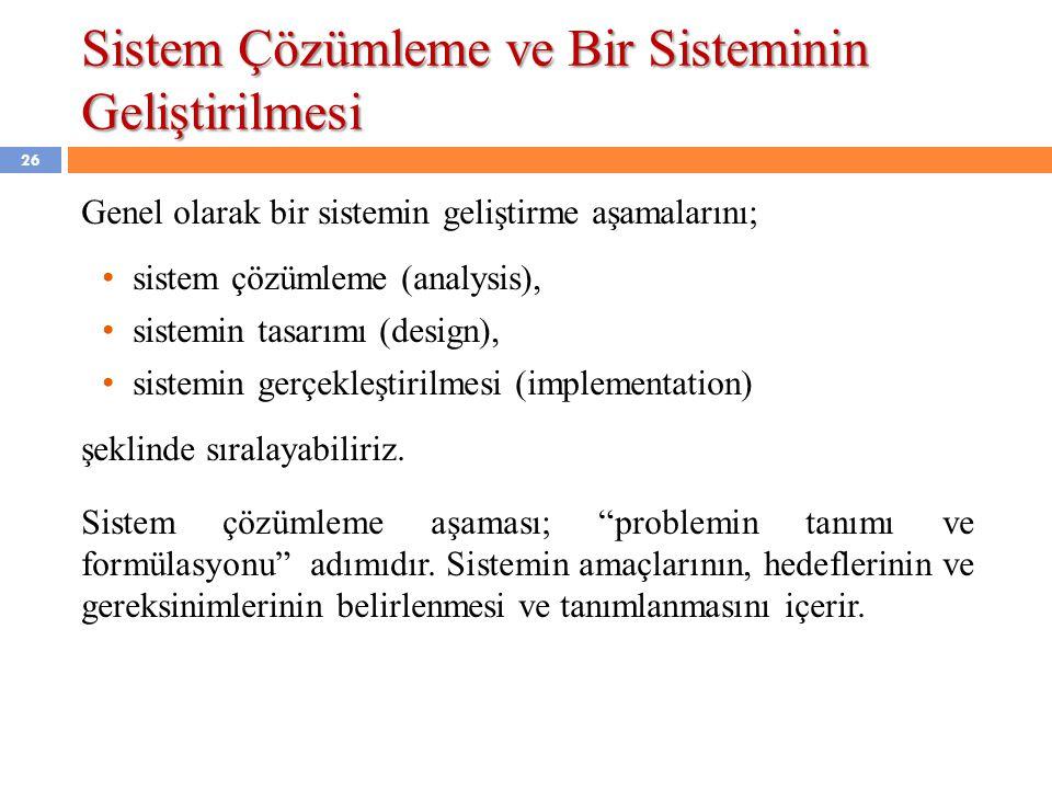 Sistem Çözümleme ve Bir Sisteminin Geliştirilmesi